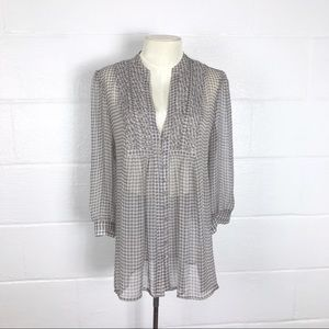 Joie sheer blouse Gray check size M